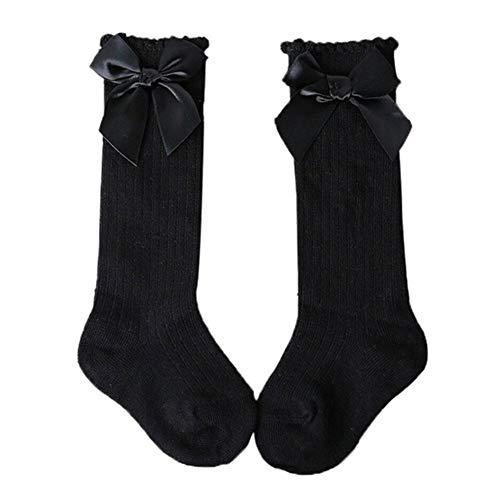 Calcetines hasta la rodilla para bebé, medias de punto de canalé cálidas de invierno con lazos, calcetines hasta la rodilla de algodón para recién nacidos y niñas