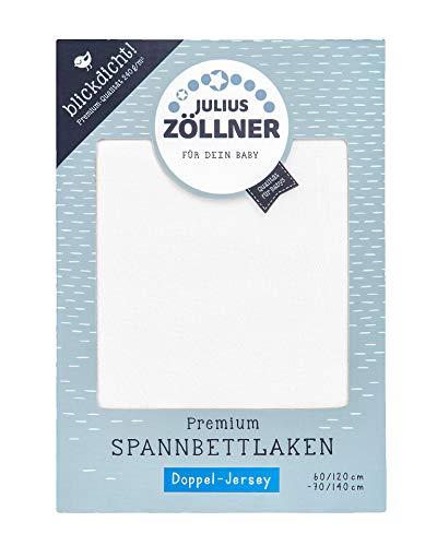 Julius Zöllner 8356157100 Drap-housse Premium en jersey opaque, convient pour lits d'enfant 60 x 120 et 70 x 140 cm Blanc