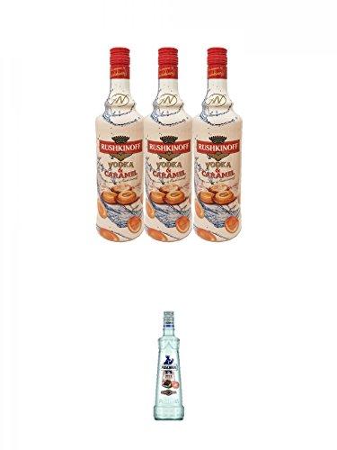 Rushkinoff Vodka & Caramello 3 x 1,0 Liter + Puschkin Nuts & Nougat 0,7 Liter