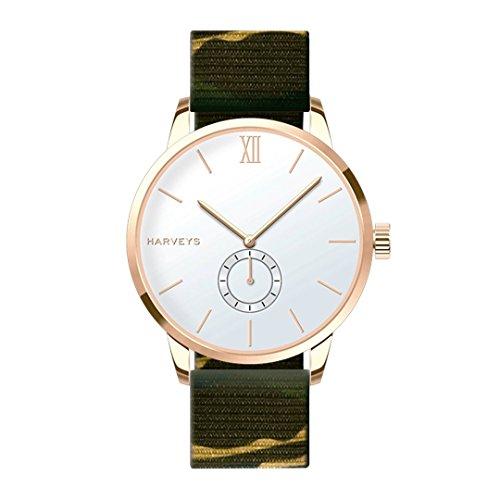 Reloj de Pulsera HARVEYS - Montecarlo Gin Army - Reloj Unisex - Esfera de Acero Inoxidable, Correa de Nylon Camuflaje, 5ATM