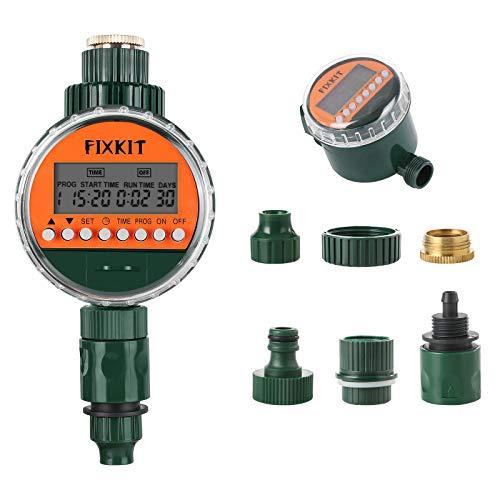 FIXKIT Bewässerungscomputer, IP68 Wasserdichter mit LCD Bildschirm, Bewässerungsprogramme bis zu 30 Tagen zur Blumenbewässerung, Rasenbewässerung