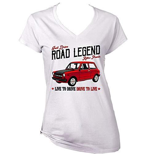 Teesandengines Autobianchi A112 Abarth 70 HP 1 Camiseta para Mujer de Algodon Size Xlarge