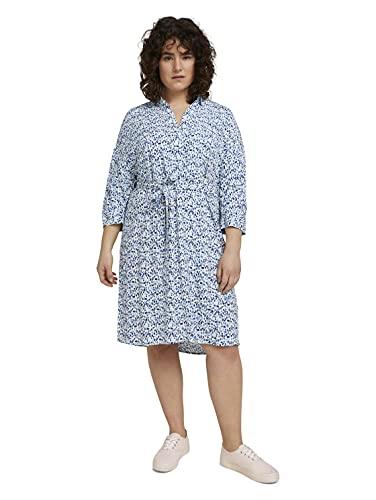 TOM TAILOR MY TRUE ME Damen 1025203 Plussize Feminine Kleid, 26597-Blue Aquarelle Dots, 50
