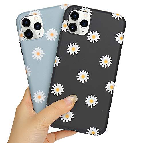 LLZ.COQUE 2 Pack Handyhülle Kompatibel mit iPhone 11 Hülle Gänseblümchen Schutzhülle TPU Hülle Slim Hülle Cover Mond matt Handyhülle für iPhone 11 Hülle GrauundGänseblümchen