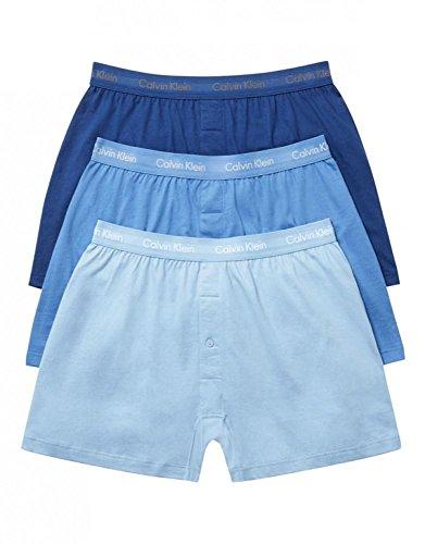 Calvin Klein Men's Cotton Classics Multipack Knit Boxers, Blue Assorted, Medium