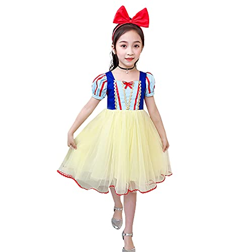 DERAYEE 白雪姫 プリンセス 女の子 半袖ワンピース お姫様に変身 キッズドレス 誕生日 贈り物 3層構造 110-160 (140)