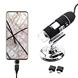 Handheld USB Digital Microscope, Type:1600X Magnification Endoscope Mini Camera SANHOOII Microscope with 8 LEDs and Stand, fit for Win 7 8 10 Mac for Electronic Repairing Hair Skin Inspection