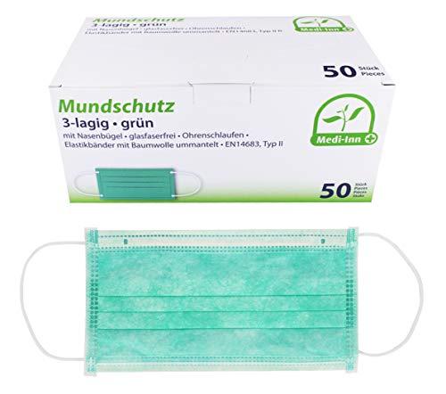 Medi-Inn Mundschutz Atemschutz Gesichtsmaske Einwegmaske mit Elastikbändern Typ II 3-lagig grün (50 Stück)