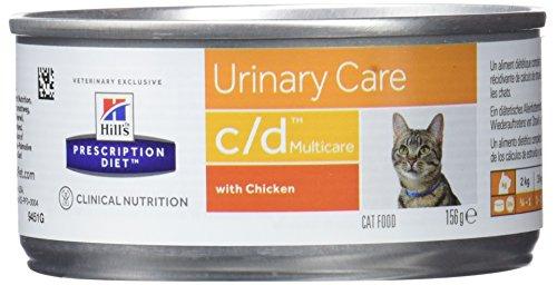 HILL's Pet Nutrition, Prescription Diet C/D, Comida para gatos con sabor a pollo, 156 gramos, 1 pieza