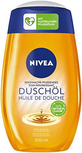 NIVEA Reichhaltig Pflegendes Duschöl (200 ml), pflegendes Duschgel mit 55 Prozent natürlichen Ölen, warm duftende Pflegedusche mit und samtweichem Schaum