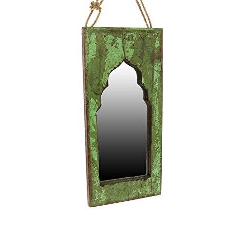 Benjara Salvaged Wooden Taj Window Frame Mirror with Hanging Rope, Green