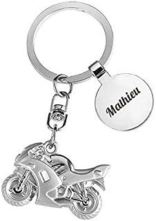 Porte-clés Moto argentée gravée avec Un prénom, Un nom ou Un Message