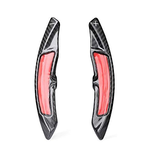 ZZMOQ para Porsche Panamera Macan Cayenne 911718919 , Extensión de la Palanca de Cambio de Marchas de Fibra de Carbono del Coche Accesorio TraseroNegro/Rojo 1 par