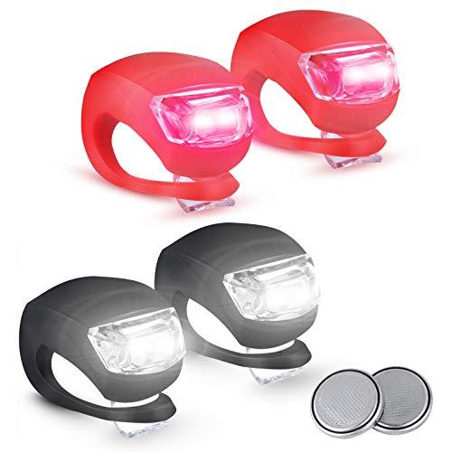 4 Pezzi Set Luci per Biciclette 3 Modalià, Impermeabili Luce per Bici a LED in Silicone 2 Batterie Extra Incluse Luci Bicicletta LED luci LED per Bicicletta Luce Bici Anteriore e Posteriore luci Bici