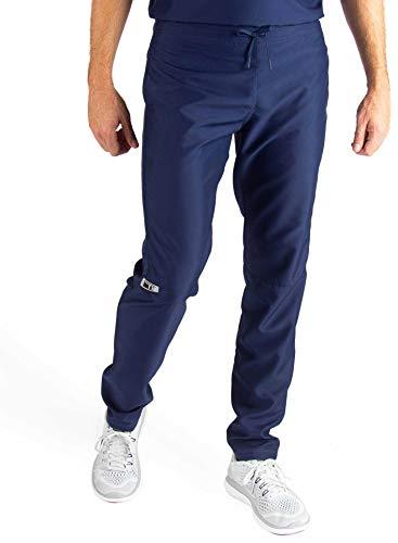 TiScrubs Men's Fitted Slim Fit Scrub Pants (Small Regular, Navy)
