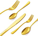 40 Pieces Gold Silverware Flatware Set for 8, Stainless Steel Cutlery Tableware Set, Stain...