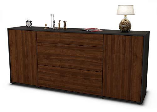 Stil.Zeit Sideboard Eleonora/Korpus anthrazit matt/Front Holz-Design Walnuss (180x79x35cm) Push-to-Open Technik & Leichtlaufschienen