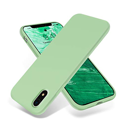 OTOFLY for iPhone XR Case, [Silky and Soft Touch Series] Premium Soft Silicone Rubber Full-Body Protective Bumper Case Compatible with Apple iPhone XR 6.1 inch - (Tea Green)