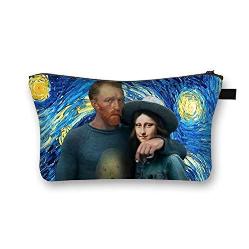 Van Gogh / Michelangelo / Da Vinci Art Cosmetic Bag Mujer Fashion Makeup Bag Starry Night / David / Mona Lisa Lady Estuche de cosméticos I 21,5 * 13 * 15,5 cm