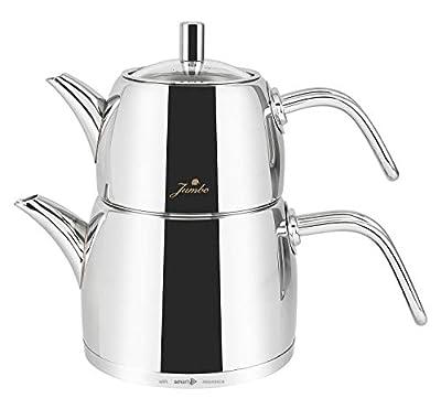 Stainless Steel Turkish Teapot Samovar - 18/10 Jumbo Premium Quality Tea Kettle for Stove Top INOX Midi Size 2.1 Lt