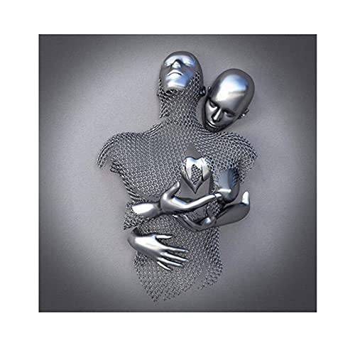 Wandbilder - Liebe Herz 3D Wandkunst Deko Metallfigur Statue Kunst Leinwand Malerei Hängende (Ohne Rahmen) - Wanddeko Wand Wohnzimmer Wanddekoration Deko Kunst Modern