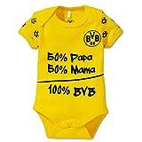 Borussia Dortmund Unisex Baby Bvb-babybody '100% Bvb' Babybody, Schwarz/gelb, 74 80 EU