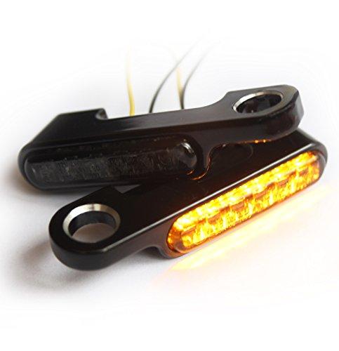 Iron Optics Motorrad LED Blinker + Blinkerhalter für Lenkerarmaturen, Farbe:Breakout CVO/Schwarz