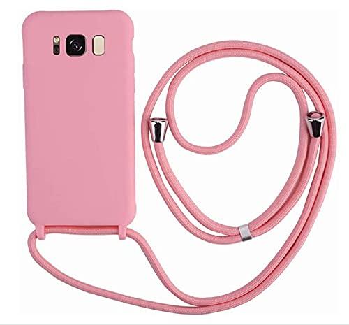 MEIVS Funda Compatible con Samsung Galaxy S8 Plus, Ajustable Collar Correa de Cuello CordónCarcasa de Silicona-Rosa