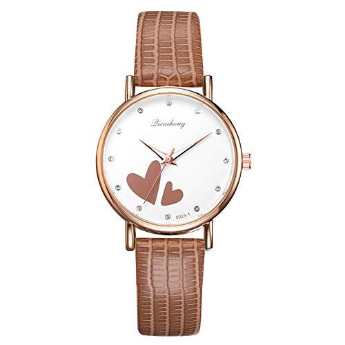 Reloj de Cuarzo para Mujer con Correa de imitación y Doble corazón y Diamantes de imitación, Reloj de Cuarzo para Mujer