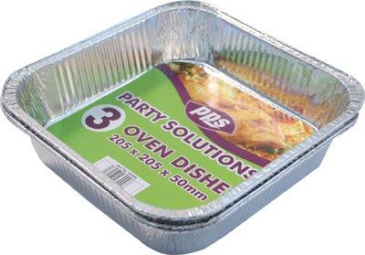 3x Plat à rôtir carré en aluminium–21x 21x 5cm Plateau de restauration Four jetable Livraison gratuite