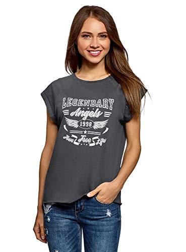 oodji Ultra Donna T-Shirt in Cotone con Stampa e Orlo Grezzo, Grigio, IT 48 / EU 44 / XL