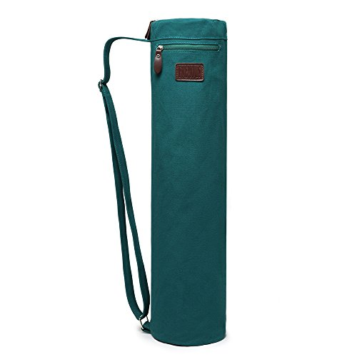 Fremous Yoga Mat Bag and Carriers for Women and Men - Double Storage Pocket - Easy Access Zipper - Adjustable Shoulder Strap and Handle (Dark Green)