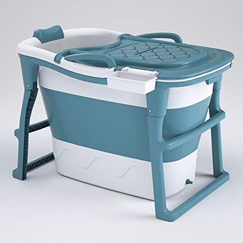 Bañera Plegable Adulta portátil, baño Familiar SPA Piscina Independiente, fácil de Instalar y drenar, baño de Vapor de Sauna bañera Adulta con Tapa,Azul
