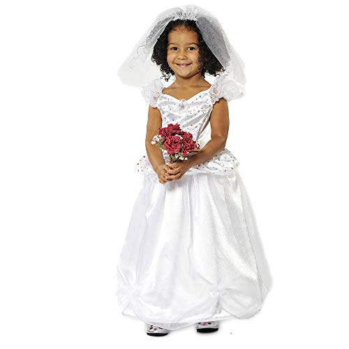 Kids Wedding Dress Costume, 2-Piece Dress & Veil, High Quality Kids Fancy Dress 5-7 Years   Fancy Dress for Kids & Toddlers   Dressing Up Clothes for Girls   Role Play for Kids by Pretend to Bee