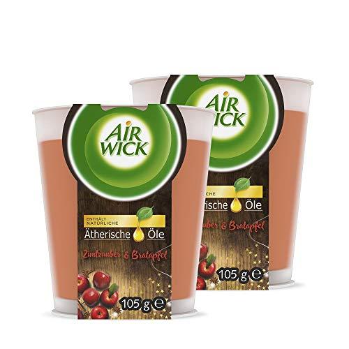 Air Wick Wohlfühl-Duftkerze im Glas – Duft: Zimtzauber & Bratapfel – Enthält natürliche ätherische Öle – 2 x Duftkerze