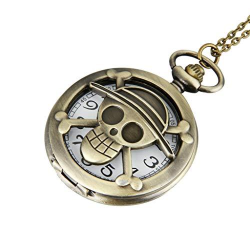 One Piece - Reloj de bolsillo, diseño de anime, vintage, bronce y estilo Steampunk, cuarzo