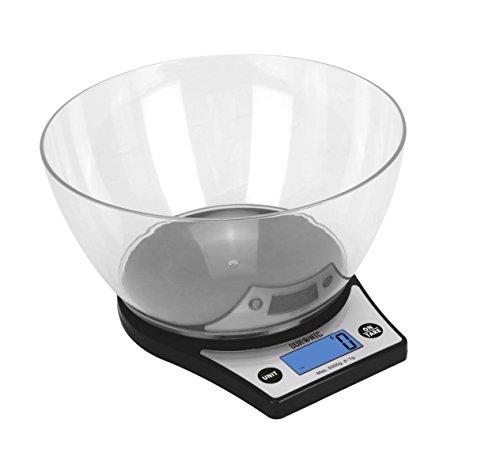 Duronic KS6000 – Bilancia da cucina elettronica - Ciotola in Plastica 2L - Portata 1g / 5 kg - Display Digitale - Funzione Tara