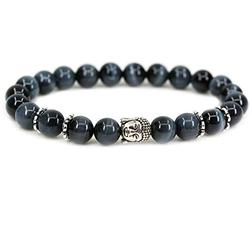 Amandastone Blue Tiger Eye Crystal 8mm Round Beads with Silvery-Plated Alloy Buddha Head Hollow Petals Spacer Retro Stretch Bracelet 7 Inch