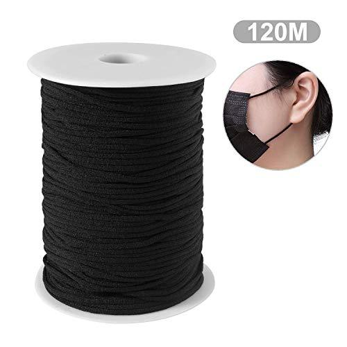 Schwarz 120M 3MM elastisches Band/DIY Seil/Bungee Gummiband Gummilitze Wäscheband Gummizug Flachgummi Ideal für Masken