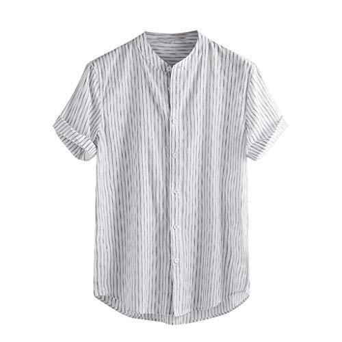 Luckycat Lino Camisetas De Manga Corta para Hombre Tops Retro Blusa Baggy Lino Camisa Hombre Blusa Suelta Casual Transpirable Top de Camisas Sin Cuello de Color Sólido Blusas de Trabajo