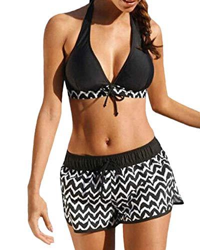 CheChury Costume da Bagno Donna Due Pezzi Bikini con Pantaloncini Halter Top a V-Collo Bikini Imbottito Cute Ruffles Regolabile Costumi Donna