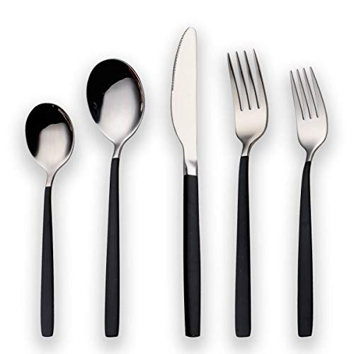 Berglander 20 Piece Titanium Black Plated Stainless Steel Flatware Set,Black Handle With Silver Mouth Flatware Set, Black With Silver Cutlery Set Service for 4 (Shiny Black, Shiny Silver)