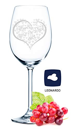Leonardo Weinglas - Merci, dass es Dich gibt - schönes Geschenk zum Geburtstag & für echte Weingenießer - Füllmenge: 460ml - Hochwertige Laser-Gravur