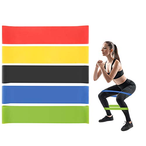 ERUW Resistance Bands, [Set of 5] Skin-Friendly Elastic Resistance Fitness Exercise Loop Bands with 5 Different Resistance Levels Ideal for Home, Gym, Yoga, Training