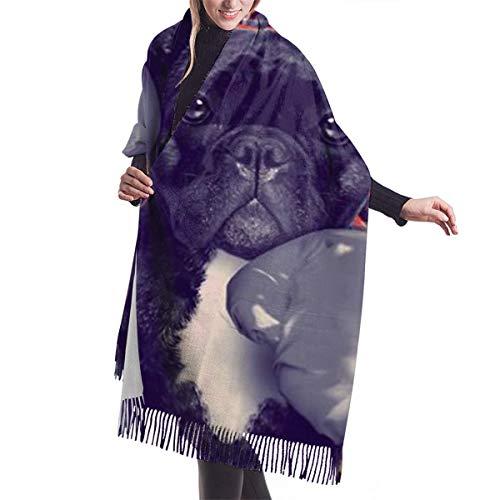 Women's Fashion Tassels Cashmere Scarf Boxing French Bulldog Winter Warm Long Large Scarves Shawl