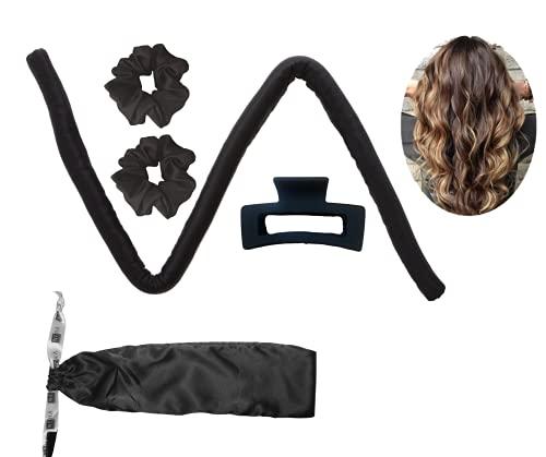 Neha Beauty Tiktok Heatless Hair Curling Ribbon 100% Mulberry Seide Silk Lockenwickler    Locken ohne Hitze   Scrunchies (Schwarz)