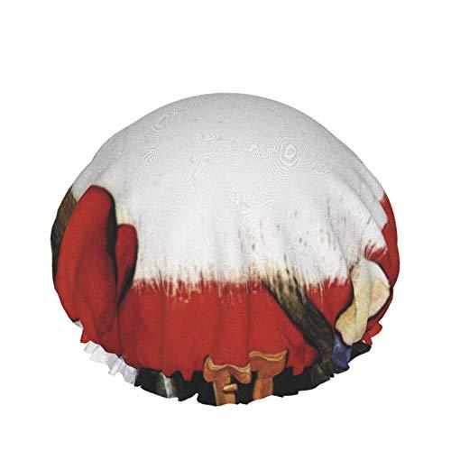 Gorros de ducha con escamas de pez de Santa Claus ruborizados, capas impermeables dobles para mujeres, sombrero de ducha con protección
