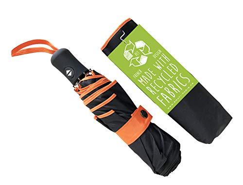 SMATI Paragas Plegable Reciclado bicolores antiviento con apuerta y Cierre automatica y Varillas en Fibras Rojo de Carbono (Naranja)