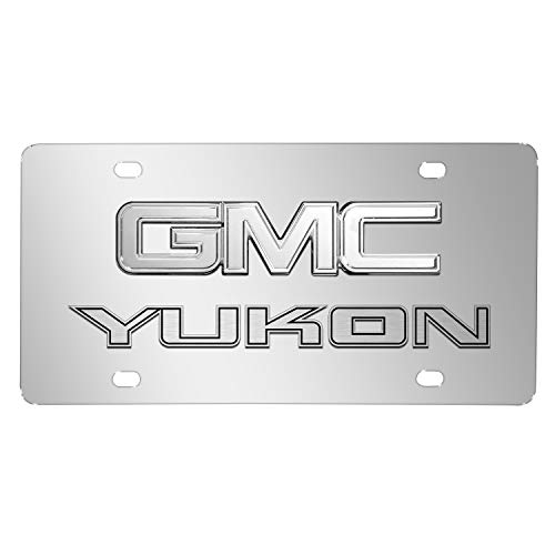 iPick Image for - GMC Yukon 3D Dual Logo Mirror Chrome Stainless Steel License Plate