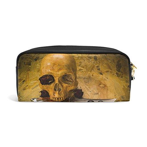 Domoko Tête de mort couteau Halloween Cuir PU Stylo Pochette Housse Trousse Maquillage de voyage Sac d'école